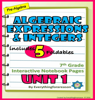 Interactive Notebook Foldables Unit 1 Algebraic Expressions and Integers