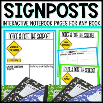 Interactive Notebook Pages for the Notice and Note Signposts-Fiction