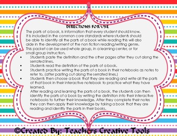 Interactive Notebook: Parts Of A Book