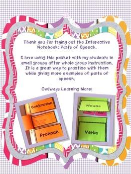 Interactive Notebook - Parts of Speech