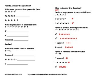 Interactive Notebook:  Perfect Squares, Exponents, and Square Roots
