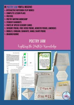 Poetry Jam interactive Notebook- Flip Book ( Grades 5-8)