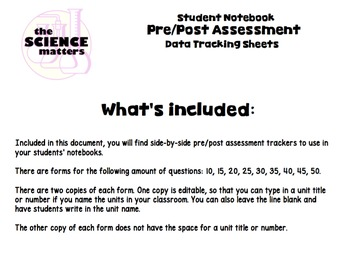 Interactive Notebook Pre/Post Assessment Data Trackers
