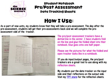 Interactive Notebook Pre/Post Assessment Tracker/Reflection Bundle