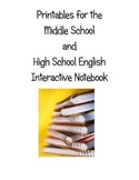 Interactive Notebook Printables for English/Language Arts