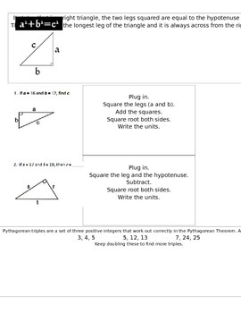 Interactive Notebook Pythagorean Theorem Foldable