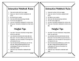 Interactive Notebook Rules Handout