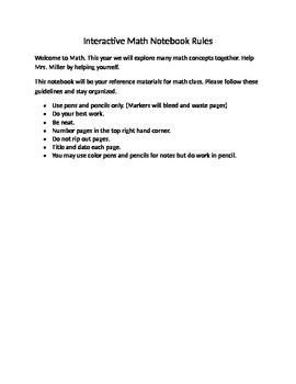 Interactive Notebook Rules for Math