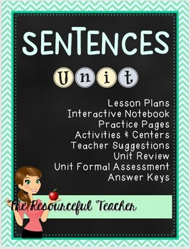 Interactive Notebook Sentences Unit with Lesson Plans and
