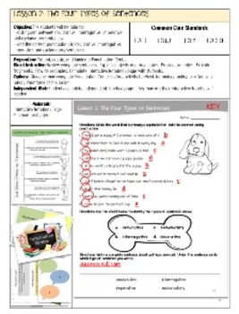 Interactive Notebook Sentences Unit with Lesson Plans and Worksheets