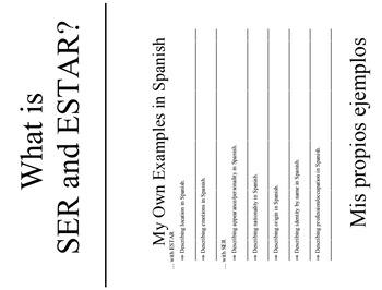 Interactive Notebook: Ser VS Estar