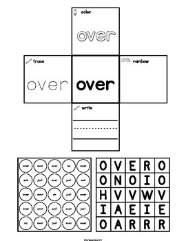 Interactive Notebook Sight Words First Grade List Set 4 (ask, an, over, just)