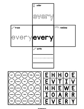 Interactive Notebook Sight Words First Grade List Set 6 (put, take, every, old)