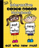 Interactive Notebook Sight Words (eat,who,new,must) Primer Set 11