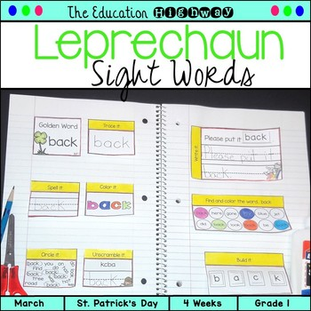 Interactive Notebook Sight Words St. Patrick's Day