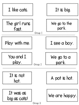 Interactive Notebook Sight Words and CVC Word Sentences