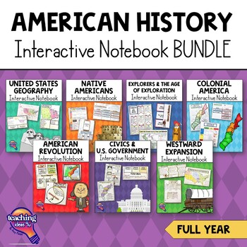 American History Interactive Notebook Bundle 5th Grade 7 Units   United States