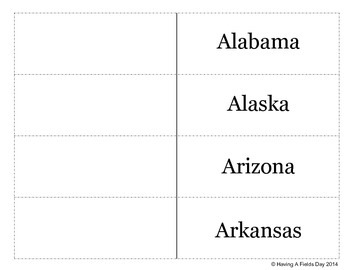 Interactive Notebook Strips: State Names