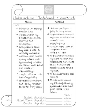 Interactive Notebook Student Contract