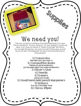 Interactive Notebook Supply List FREEBIE!