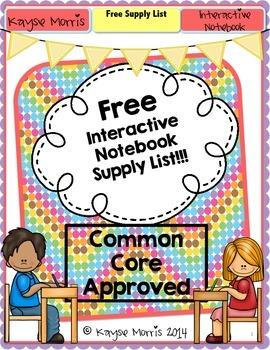 Interactive Notebook Supply List FREEBIE!