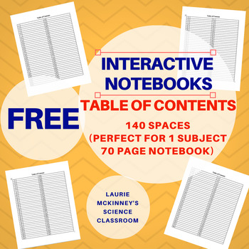 Interactive Notebook Table of Contents (140 Lines- great for 1 subject notebook)