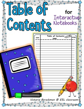 Interactive Notebook - Table of Contents