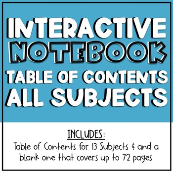 Interactive Notebook Table of Contents - ALL SUBJECTS