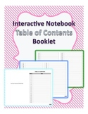 Interactive Notebook Table of Contents (Booklet)