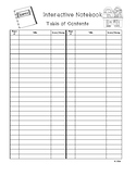 Interactive Notebook Table of Contents Handout- Version 2