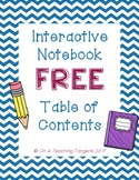 Interactive Notebook Table of Contents Page