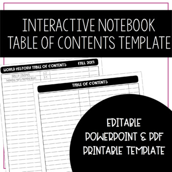 Interactive Notebook Table of Contents Template - EDITABLE