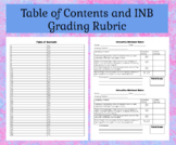 Interactive Notebook Table of Contents and Grading Rubric