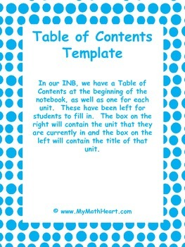 Interactive Notebook - Table of Contents by Unit