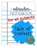 Interactive Notebook Table of Contents pages FREEBIE - For ALL Subjects!