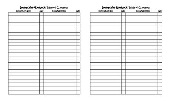 Interactive Notebook Table of Contents template for any subject