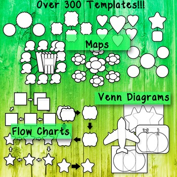 Editable Interactive Notebook Templates: 300+ Graphic Organizer Clipart Pack