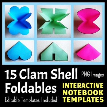 Interactive Notebook Templates - Easy to Cut Clam Shell Pack - 15 Templates!