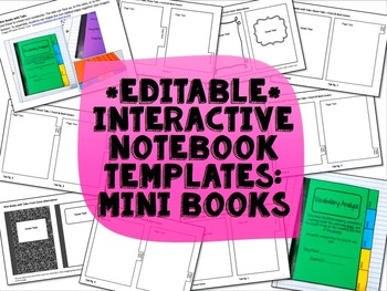 Interactive Notebook Templates Mini Books Commercial Use Allowed