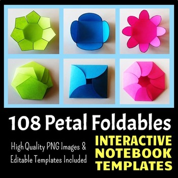 Interactive Notebook Templates - Easy to Cut Petal Pack - 108 Templates!
