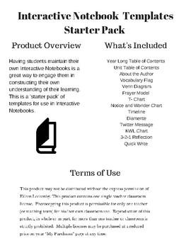 Interactive Notebook Templates- Starter Pack