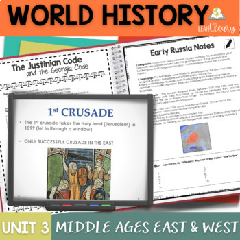 The Middle Ages in the East and West Interactive Notebook Complete Unit Bundle