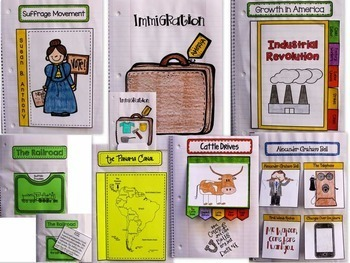 Interactive Notebook-Turn of Century-Cattle/Inventions/Immigrants/Industrial...