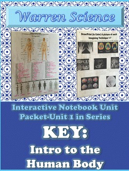 Interactive Notebook Unit Packet KEY:Intro to Human Body-U
