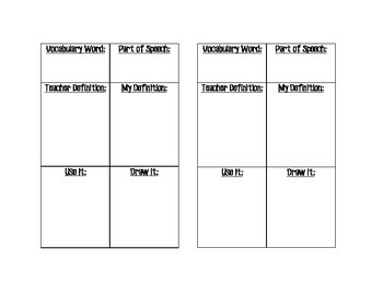 Interactive Notebook Vocabulary Page - Blank