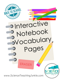 Interactive Notebook Vocabulary Sheets FREEBIE