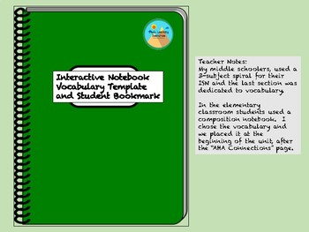 Interactive Notebook Vocabulary Template & Book Mark