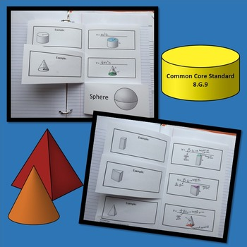 Volume Interactive Notebook Sphere Cone Cylinder Prism Pyramid 8.G.9 Notes