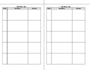 Interactive Notebook Warm-Up Template