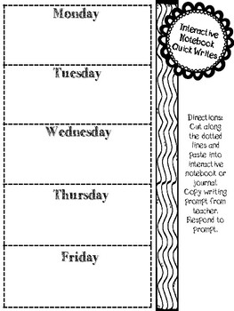 Interactive Notebook Weekly Quick Writes Template (blank)